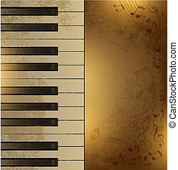 Vintage background with piano - Vector vintage background...