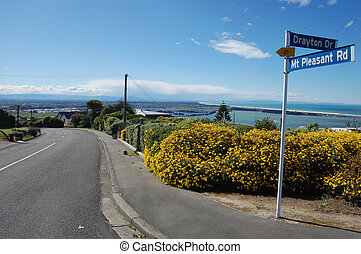 Town road sign hill view, Christchurch, New Zealand