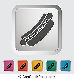 Hot dog. Single icon. Vector illustration.
