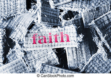 Faith word on material pieces
