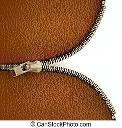 Brown leather texture background with zipper Vector...