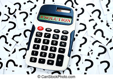 Solution result on question mark background