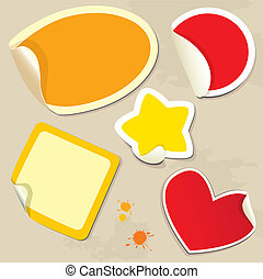 Set of different colors stickers
