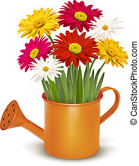Colorful fresh spring flowers in orange watering can. Vector...