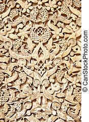 Moorish stone carving - Old moorish stone carving close-up,...