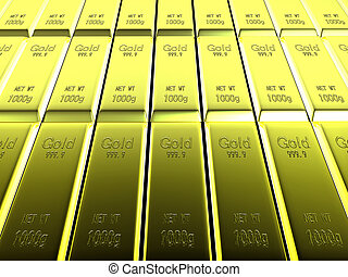 Macro view of rows of gold bars