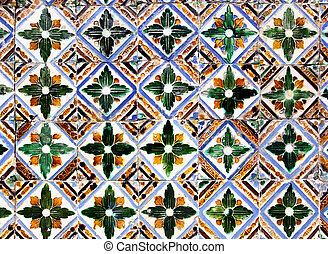 Moorish ceramic tiles in the Real Alcazar, Seville