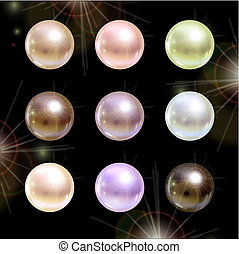 Shinyl pearls on black background Vector set