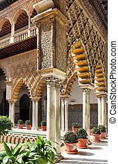 Seville Alcazar - Courtyard in Alcazar, Seville