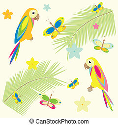seamless background with palm tree and parrots - summer...