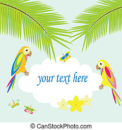 background with palm tree and parrots - summer background...