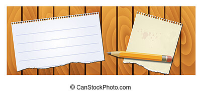 banner wood texture and notepad