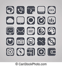 Tablet device interface icons collection - web graphic...