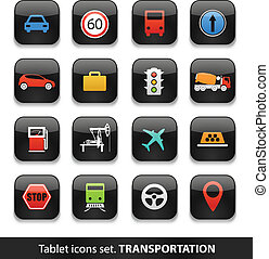 Transportation Tablet buttons collection isolated on white