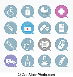 Medicine web icons set in color speech clouds