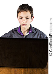 teenager surfing the net ,over white background. It is not...