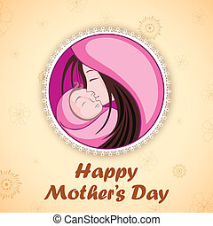 Happy Mother's Day - illustration of mother embracing child...