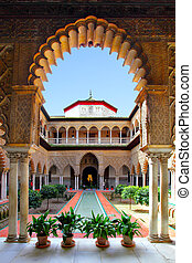 Real Alcazar - Courtyard in Real Alcazar, Seville
