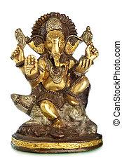 Hindu God Ganesh isolated over the white background