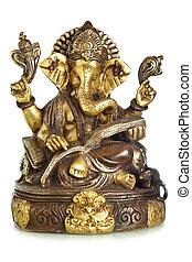 Ganesha - Hindu God Ganesha isolated over the white...