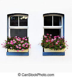 Windows with flowers - Windows of old house with flowers,...
