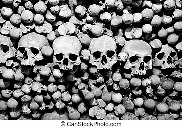 Skulls and bones Black and white image