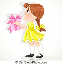 Little girl gives a gift - Little girl in a yellow dress...