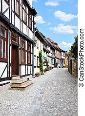 Old german street - Old street in Quedlinburg, Germany