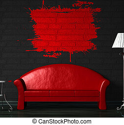 Red sofa, table and standard lamp in black minimalist...