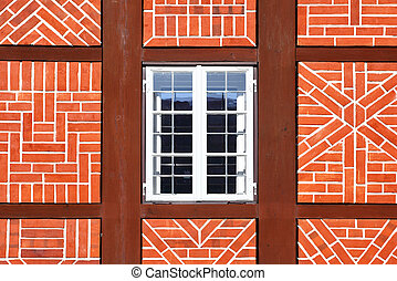 Window of old house - Window of old timber framing house,...