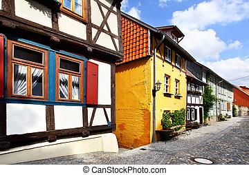 Quedlinburg - Old half-timbering houses in Quedlinburg,...