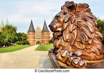 Holstein Gate, Lubek - Lion beside Holstein Gate (built in...