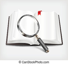 Open book and magnifying glass on white background, vector...