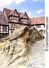 Quedlinburg - Old houses in Quedlinburg near castle rock,...