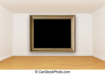 empty room with vintage picture frame