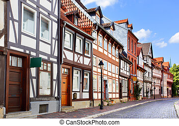 Old street in Hildesheim - Old houses in Hildesheim, Germany