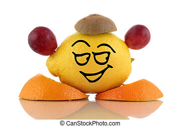 Smiley lemon Funny fruits collection on white background