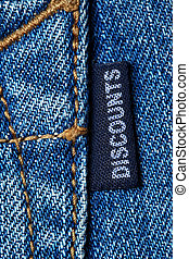 Discounts - Blue jeans label with word DISCOUNTS