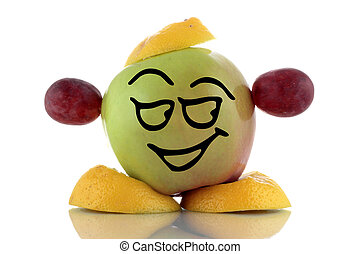 Smiley green apple Funny fruits collection on white...