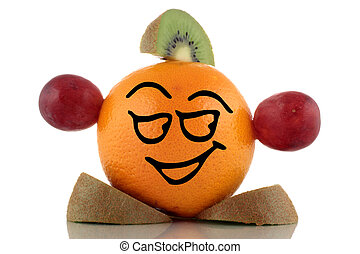 Smiley orange Funny fruits collection on white background