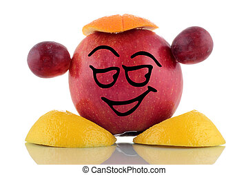 Smiley red apple Funny fruits collection on white background...