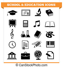 School And Education Icons - Vector set of school and...