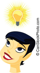 Bright Idea - Vector illustration of a girl getting a bright...
