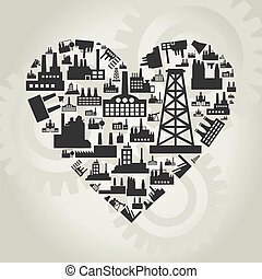 Industry heart2 - Heart made of factories A vector...