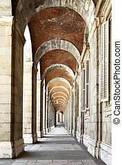Colonnade in king's palace. Madrid. Spain.