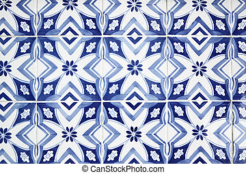 Portuguese tiles (azulejos) close-up