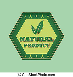 natural product and leaf sign - retro green label