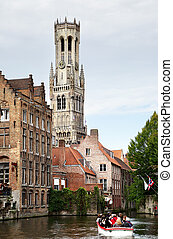 Bruges - View to canals and Belfort in Bruges, Belgium