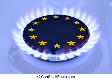 Gas EU - Gas flame and European Union Sign on the hob