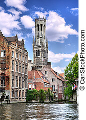 Bruges - View of canal and houses at Bruges, Belgium